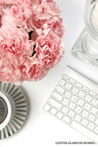 Branded Proofreading Pink flowers, cup of coffee & computer keyboard. Clever Glamour Momma