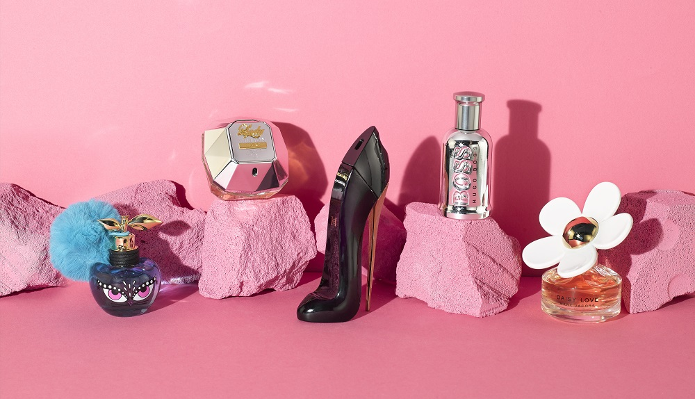 Perfumes with a pink background