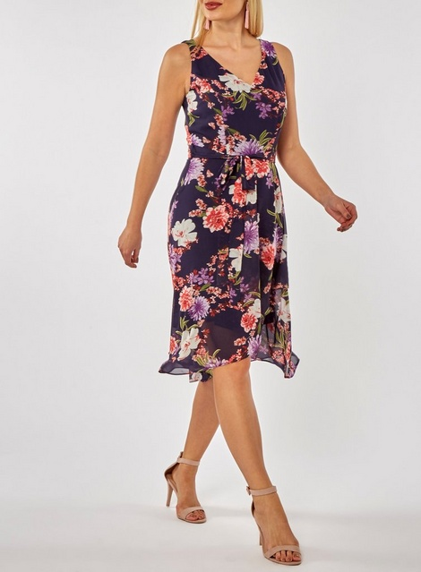 Black, floral Wrap & Empire Dress from Dorethy Perkins