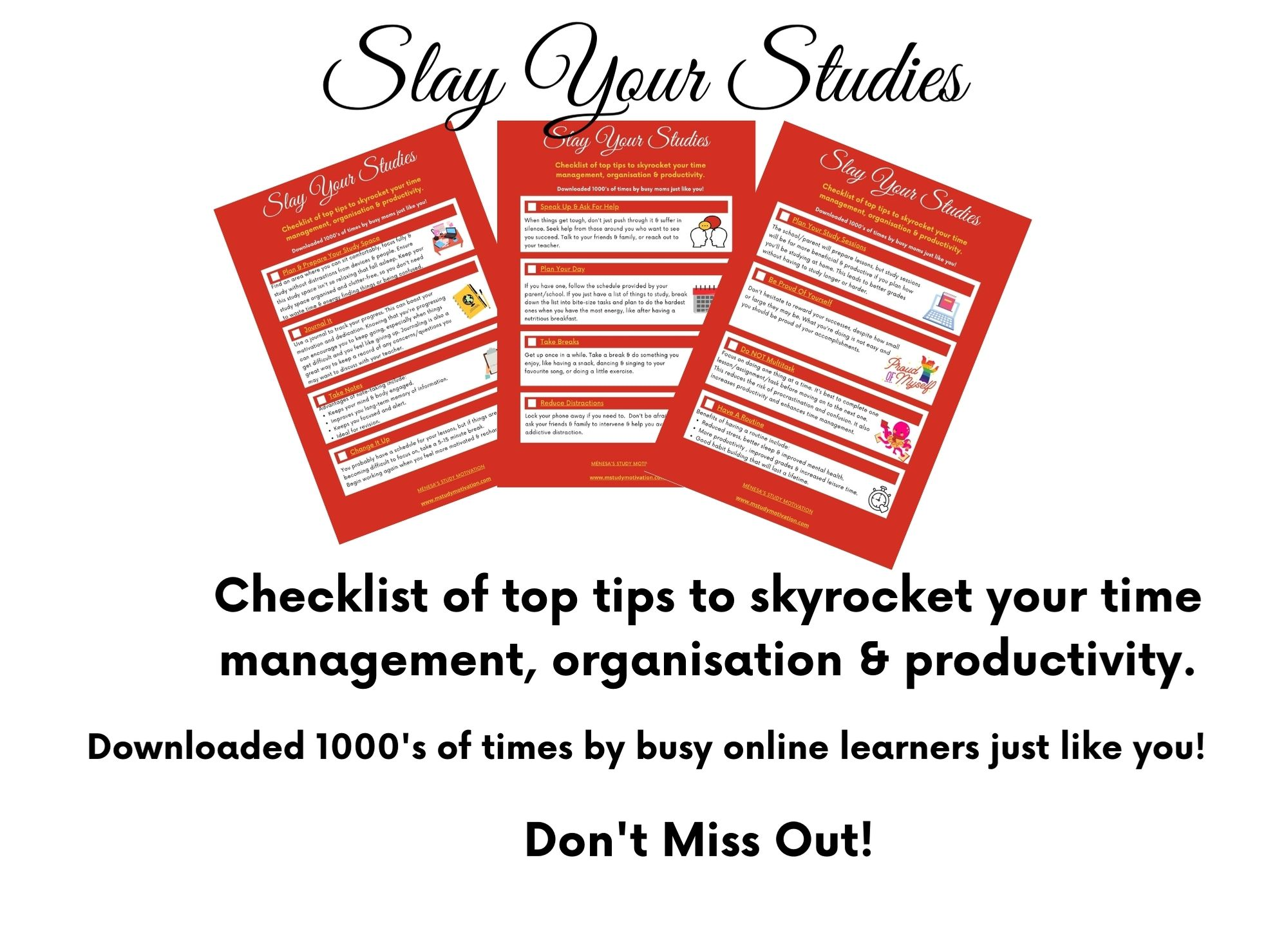 FREE CHECKLIST To help you Slay Your Studies